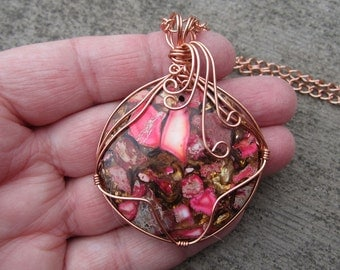 Colorful Wire Wrapped Pendant