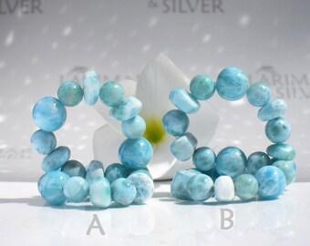 "Larimar stretch bracelet by Larimarandsilver, Caribbean Chill Out 3 - teal Larimar mixed beads, handmade aquamarine beads bracelet size 7.5"""