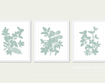 Leaves Art Print -  Set of 3 Prints - 5x7 or 8x10 - Botanical Wall Art - Tropical Leaves Wall Art - Seafoam Green Leaf Art - Modern Prints