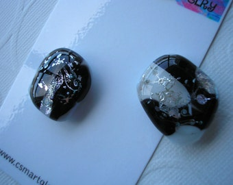 Magnets Dichroic Fused Glass Black and White Sparkle Set of Two Refrigerator Kitchen Magnets Matching Office Hostess Gift Kiln Fired Glass