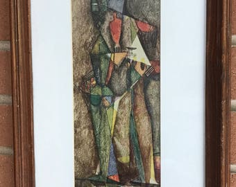 Cool Vintage 50s 60s Abstract Cubist Print Wall Hanging Mid Century Modern Retro Art
