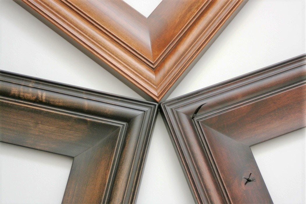 24x30 picture frame cottage style in three stained for Bungalow style picture frames