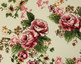 Cream Burgundy Olive and Mustard Floral Brushed Poly Spandex Knit, 1 yard