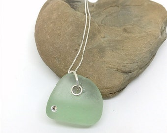 Sterling Sea Glass Pendant - Lake Erie Jewelry - Beach Glass Necklace - Crystal Jewelry - Beach Glass Jewelry - FREE Shipping inside the US