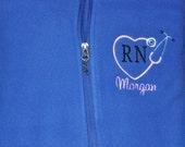 Monogrammed Nurse Jacket, Embroidered Stethoscope Jacket, Nurse Fleece Jacket, RN Jacket, Fleece Full Zip Jacket, Personalized Jacket