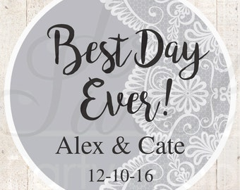 Wedding Favor Stickers, Bridal Shower Favor Labels, Personalized Stickers, Bachelorette Party Favors, Best Day Ever - Gray - Set of 24