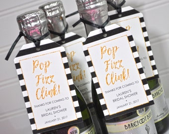 Mini Wine Bottle Favor Tags, Bridal Shower Favors, Mini Champagne Tags, Personalized Wedding Favors, Pop Fizz Clink, Black Gold - Set of 12