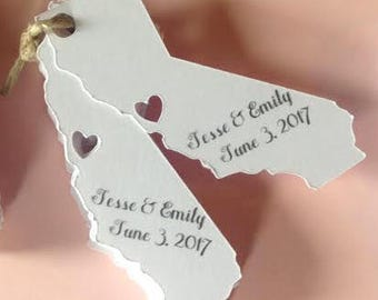 California Cut Out state tag with name and date, thank you, custom wedding tag, personalized, choose city for heart, LA, San Diego