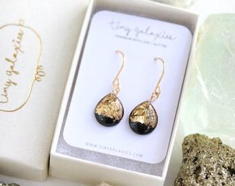 black and gold leaf teardrop earrings on 14 karat gold fill ear wires