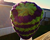 Fashionable Hand Knit Cafe Au Lait Tam, Purple and Green, Hat, Slouch, Beanie, Knitted Winter Hat, Durable Hat, Warm and Cozy