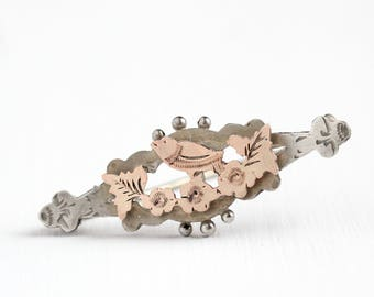 Antique Sterling Silver & Rose Gold Wash Bird and Flower Pin - Vintage Victorian 1890s Hand Etched Two Tone Floral Brooch Jewelry
