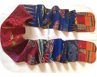 Bright African Patchwork Scarf, OOAK Bohemian neckwear, Winter Spring Wear, Barefoot Modiste Handmade, Boho Gypsy Clothing, Hippie Threads