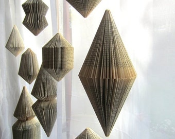 Christmas SALE Hanging Book sculpture: Bicone -folded Books