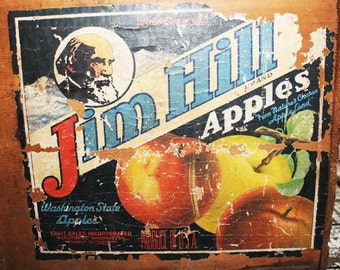 Vintage Jim Hill Apples box, Washington State, Apple Box, Apple Crate, Wood Box, Container, Organize, Toy Box