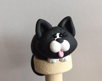 Polymer Clay Muffin Tuxedo Cat Ballpoint Pen