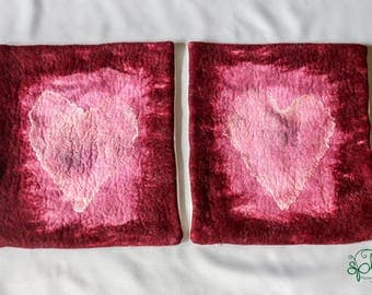 set of 2 pink felted pillowcases