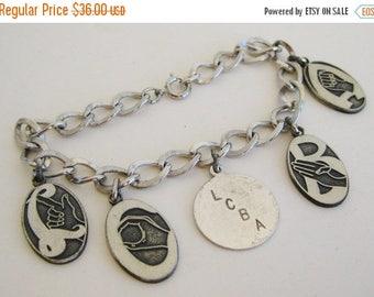 SPRING SALE Vintage Fine LCBA Loyal Christian Benefit Association Sterling Silver Charm Bracelet