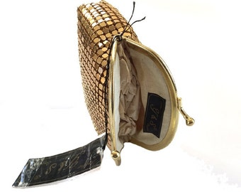 Y & S Gold Metal Mesh Kisslock Coin Purse