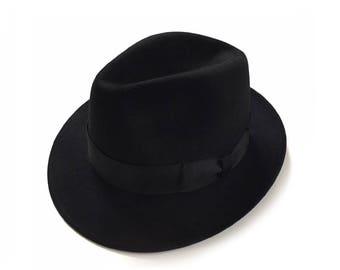 1950's Dobbs Fifth Avenue Black Fedora Size 7 1/4 Fur Felt Fedora Hat