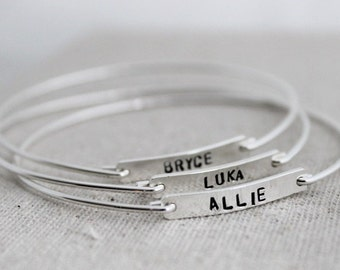 stacking bangle bracelet | word of the year | inspirational gift for her | push present | names & dates mommy jewelry