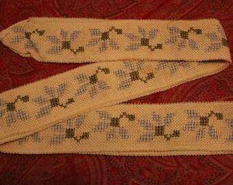 Antique Edwardian Dress Cross Stitch Blue Flower Belt or Ribbon Trim