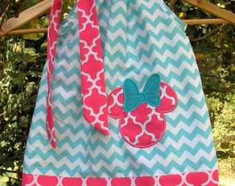Dress SALE 10% off code is tilfeb  Minnie Mouse Dress  aqua dress  pillowcase dress  3, 6,9,12,18 month 2t,3t,4t,5t,6,7,8,9,10,12.14