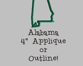 Buy 1 Get 1 Free! State of Alabama Applique Alabama Embroidery Design Alabama Outline Embroidery Design Alabama Embroidery Design 4 x 4 Hoop