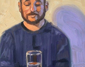 Feeling Bearly Introspective, (Self Portrait with a half glass of Water) oil on stretched canvas, 11x14 inches by Kenney Mencher