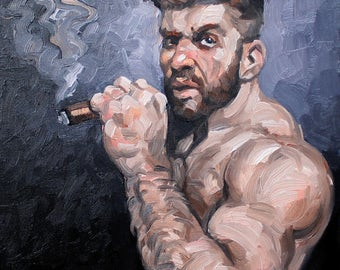 Rough Guy with a Cigar,  oil on canvas panel 11x14 inches by Kenney Mencher