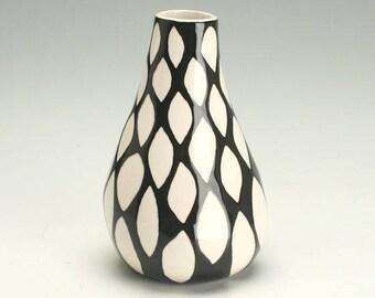 Black and White Organic Ceramic Small Flower Vase, Pottery Bud Vase, White Shapes Black Background