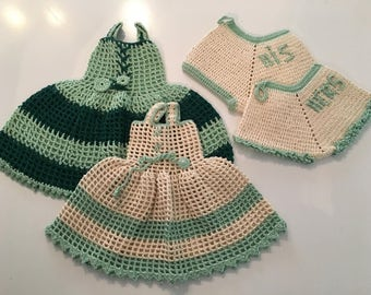 Vintage Crocheted Pot Holders and Dish Towels Handmade lot of 5 1950s Doll clothes His Hers