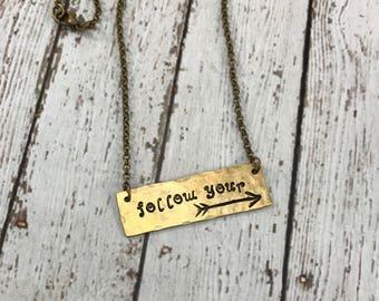 Graduation Gift - Follow Your Arrow Bar Necklace - Graduation Necklace
