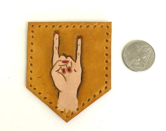 Rock On Tooled Leather Patch