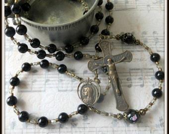 Black Rosary, Catholic Rosary for Women, Black Onyx Rosary, Lampwork Rosary, Bronze Rosary, Lady of Lourdes Rosary, Traditional Rosary