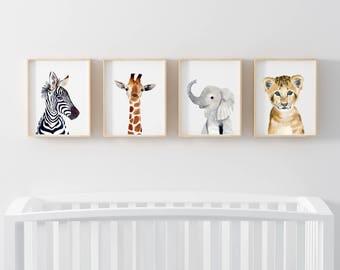 Safari babies, Set of 4 Prints, Animal Paintings, zebra, elephant, lion, giraffe ,nursery prints, nursery  decor, Nursery, Kids Art