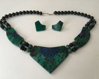 Totally Rad SALE: Vintage Faux Turquoise and Black  1980s Chunky Geometric Necklace and Matching Earrings
