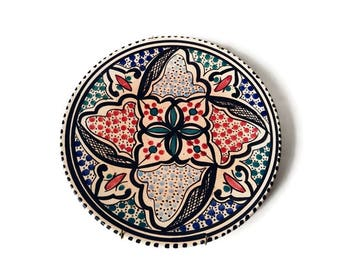 Vintage Tunisian Plate Wall Hanging - Hand Painted Tunisian China - Tunisia Ceramic Folk Art Pottery Display Plate - North African Pottery