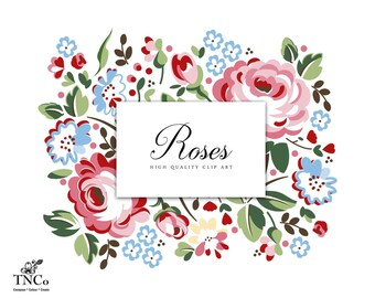 Clip Art Commercial Use - Rose clip art - Digital clip art - Floral clip art - Planner clipart - Commercial Use Clipart - Graphic Design