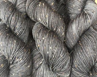 Kettle Dyed Superwash BFL with Nylon Neps DK Weight Yarn in Charcoal