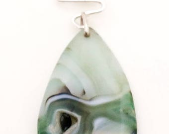 Sterling Silver Agate and Jade Pendant