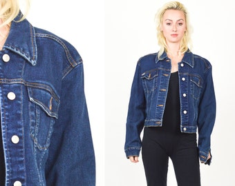 1990's DENIM JACKET  Dark Blue Jean Coat. 90's Grunge. Rocker Boho Classic Denim. Contrasting Stitching. Size Small/Medium.