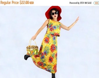 Bright Summer Dress, 2 Pieces, Vintage 1980s Size Small, Primary Colors