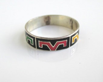 925 Sterling Silver & Enamel Inlay Ring / Band - Vintage Thunderbird Design