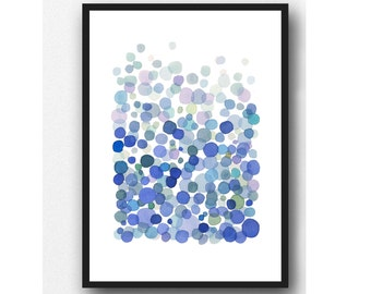 Summer Sale, blue watercolor painting, Netherlands, Abstract watercolor painting blue drops, cobalt blue Watercolor print