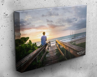 Beach Canvas Wrap, Beach Sunrise Photography, Ocean Wall Art, Gallery Wrapped Photo, Sunset Home Decor, Surfer Sunrise, Beach Surfer