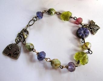 Bee Bracelet, Beehive Charm Bracelet, Botanical, Brass, Bohemian, Woodland Bracelet, Purple and Green Czech Beads