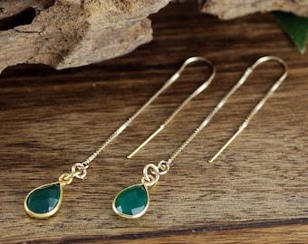 Gold Thread Earrings, Emerald Drop Earrings, Gold Emerald Earrings, Wedding Jewelry, Bridesmaid Jewelry, Everyday Earrings, Bohemian Jewelry