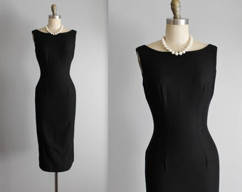 50's Dress // Vintage 1950's  Black Pique Cotton Fitted Cocktail Party Wiggle Dress XS