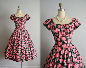 50's Dress // Vintage 1950's Rhinestone Pink Floral Print Ruched Shelf Bust Full Garden Party Dress XS