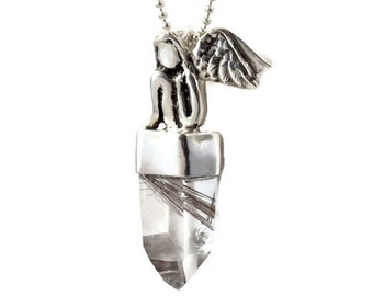 Unusual Jewelry For Women - Jewelry By Robin Wade - Sterling Silver And Rutilated Quartz Jewelry - Empowerment Jewelry - Art Pendant - 2220